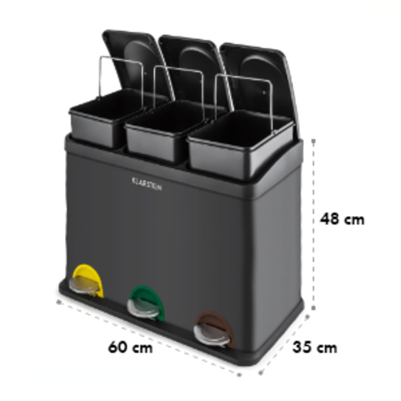 Ökosystem Mülleimer Treteimer Mülltrenner 45L (3x15 L) schwarz