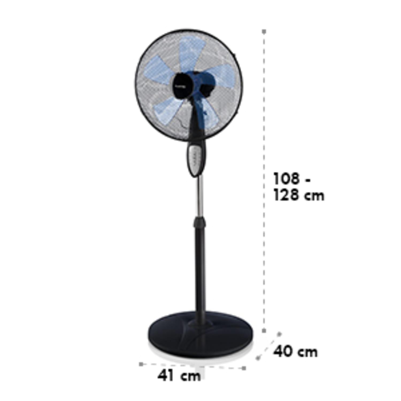 Summerjam, ventilator cu suport, negru, 41 cm, 50 W, 3 nivele de viteză, debitul de aer 69.18 m³ / min., inclusiv telecomandă