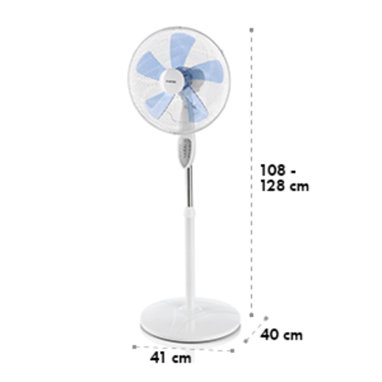 Summerjam, ventilator cu suport, alb, 41 cm, 50 W, 3 nivele de viteză, debitul de aer 69.18 m³ / min., inclusiv telecomandă