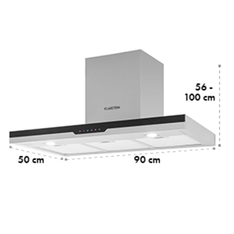Finessa, 635m³/h, páraelszívó, nemesacél, 90 cm, üveges előlap, falra szerelendő