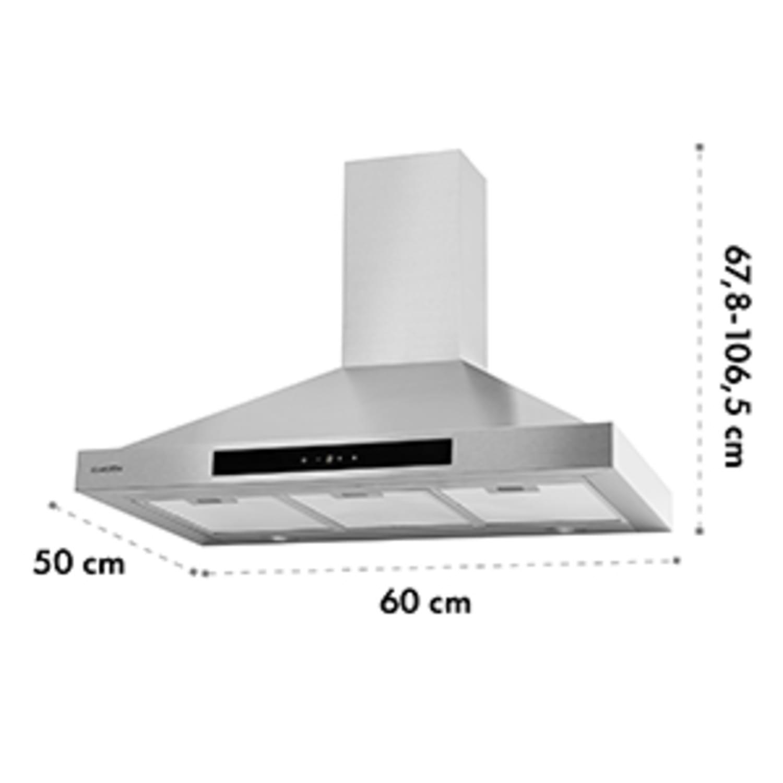 Zelda 90 Hotte aspirante 210W 3 vitesses 650m³/h LED classe B - inox