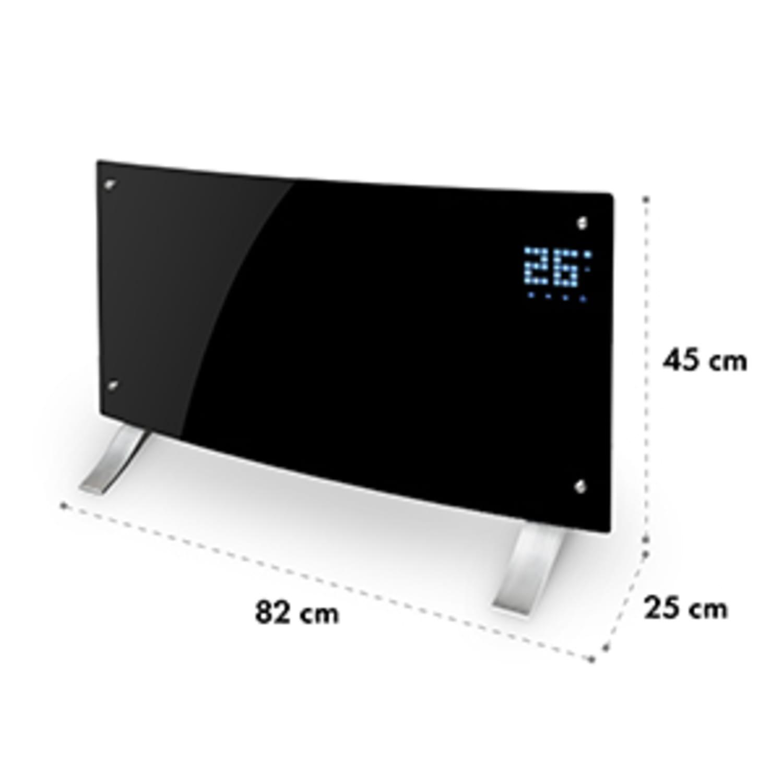 Bornholm Curved Konvektions-Heizgerät Thermostat Timer 2000W Standgerät Wandhalterung schwarz