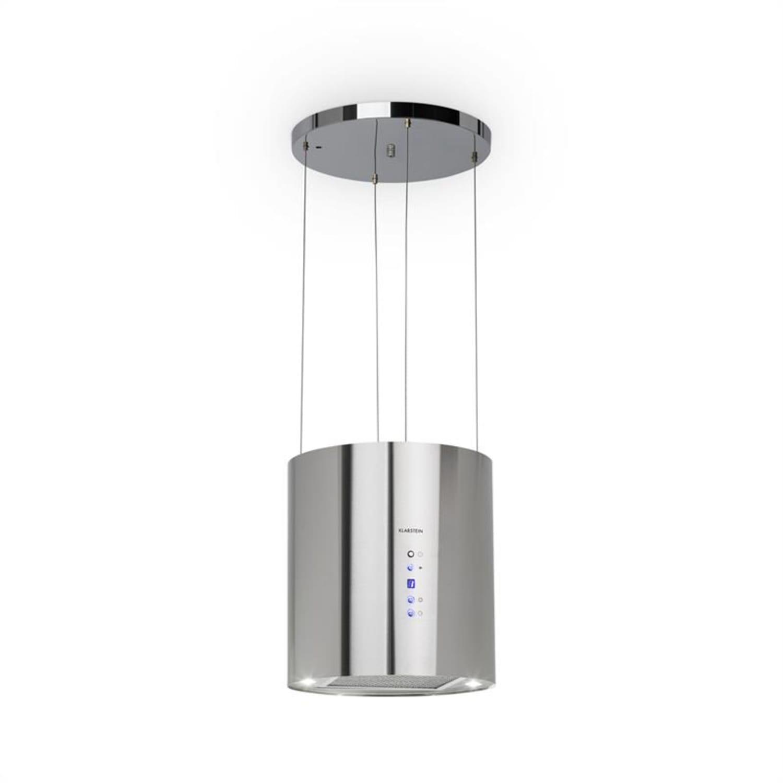 Barett Inselabzugshaube Ø35cm Umluft 560m³/h LED Aktivkohlefilter Edelstahl