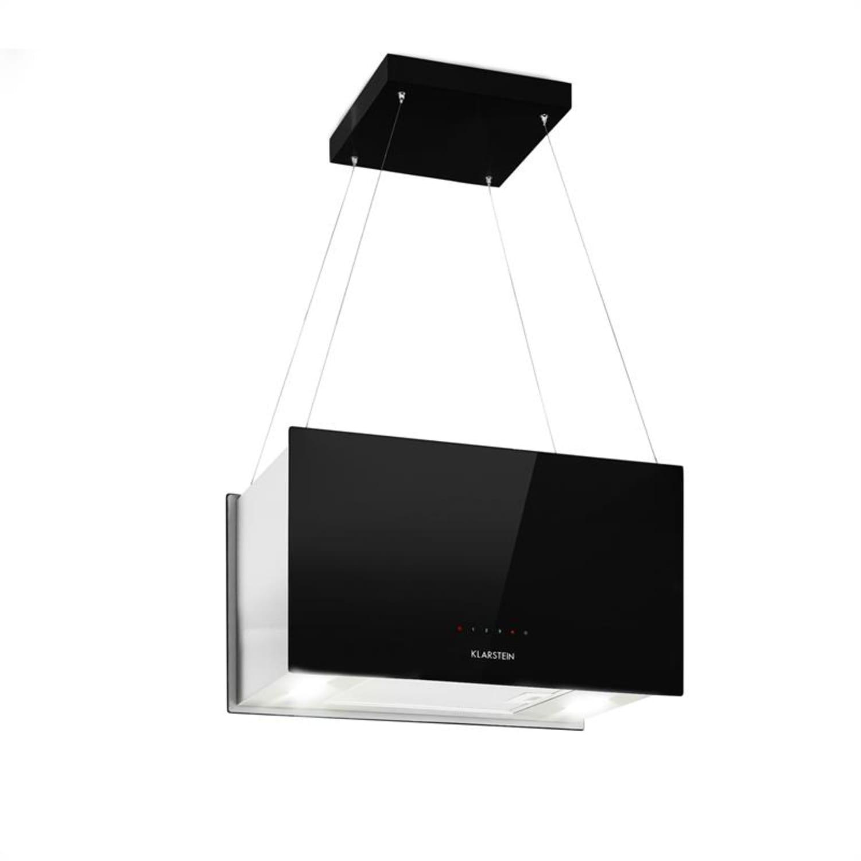 Kronleuchter L Wyspowy okap kuchenny 60 cm wydajność wyciągu powietrza: 590 m³/h LED panel dotykowy kolor czarny