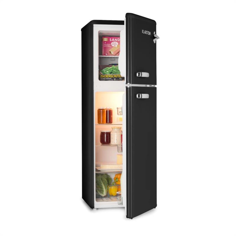 Audrey, chladnička s mrazákem, 90 l/ 39 l, retro vzhled, černá