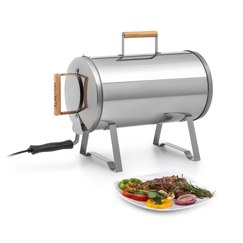 Gourmet Barrel Smoker rostfreier Edelstahl 0,6mm Holzgriffe silber