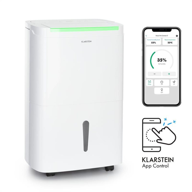 DryFy Connect 50, osuszacz powietrza, Wi-Fi, kompresja, 50 l/24 h, 45–55 m2, biały