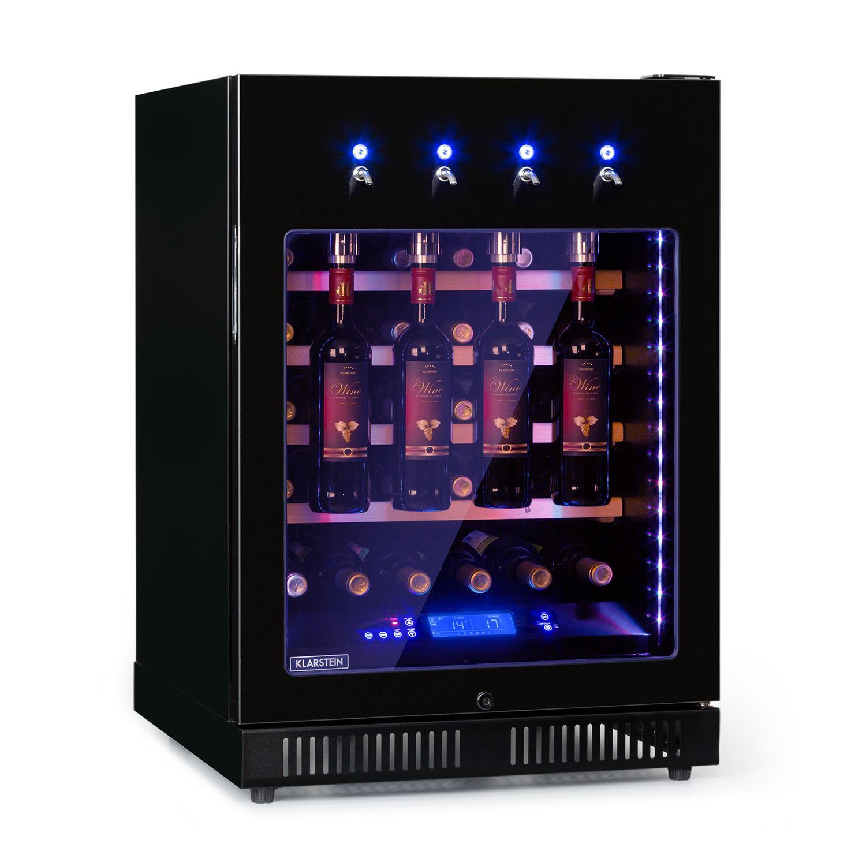 First Class 36 Weinkühlschrank 4 Dispenser 36 Flaschen 5-22°C Touch Edelstahltür schwarz