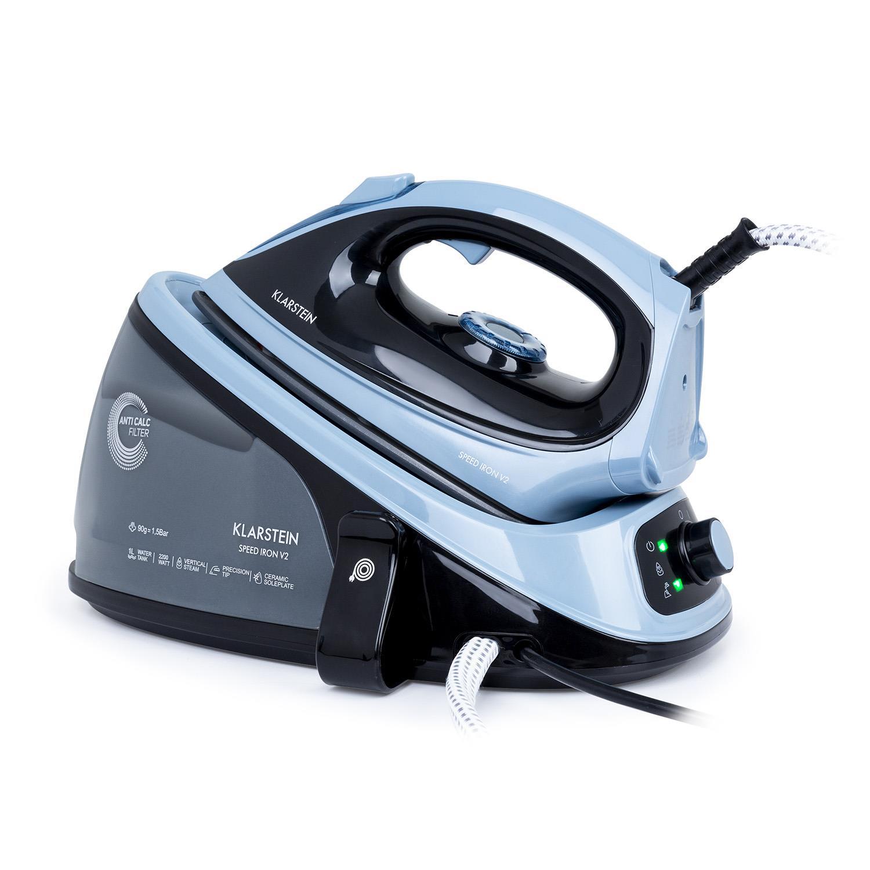 Speed Iron V2, żelazko parowe, 2100 W, 1100 ml, EasyGlide, czarne / niebieskie