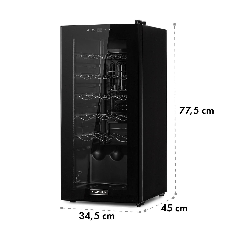 Shiraz 18 Slim Uno Weinkühlschrank 50l 18Fl Touch-Bedienfeld  138W 5-18°C