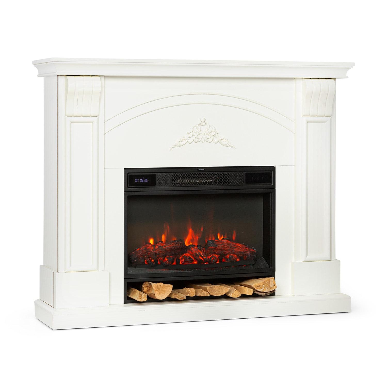 Vulsini Dawn Electric Fireplace 1900 W LED Technology Remote Control Cream
