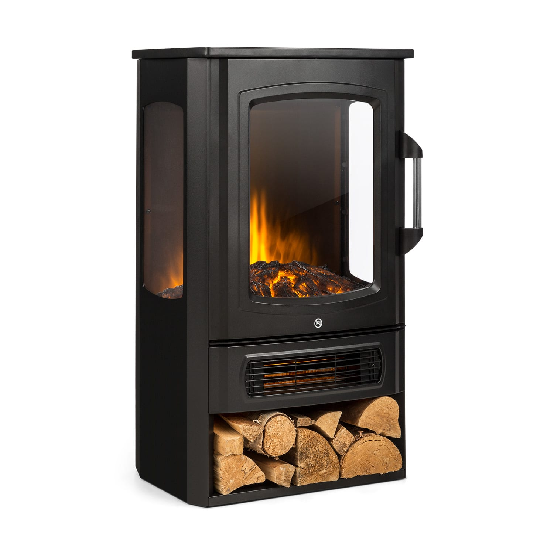 Bormio Panorama Electric Fireplace 1000 / 2000W Thermostat Black