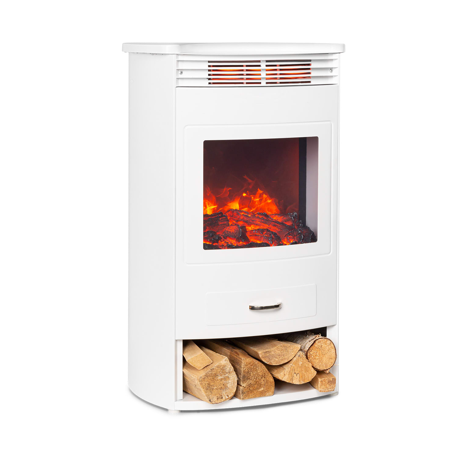 Bormio WH, Electric Fireplace, 950 / 1900W, Thermostat, Weekly Timer, White