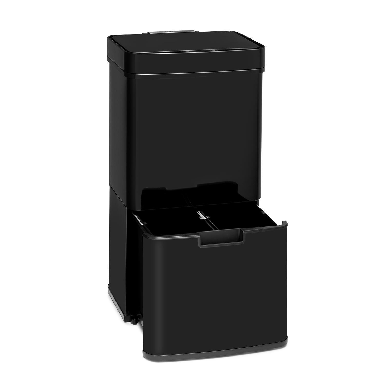 Touchless Black Stainless Steel Müllsammler Sensor 72L 4 Behälter ABS / PP / Edelstahl schwarz