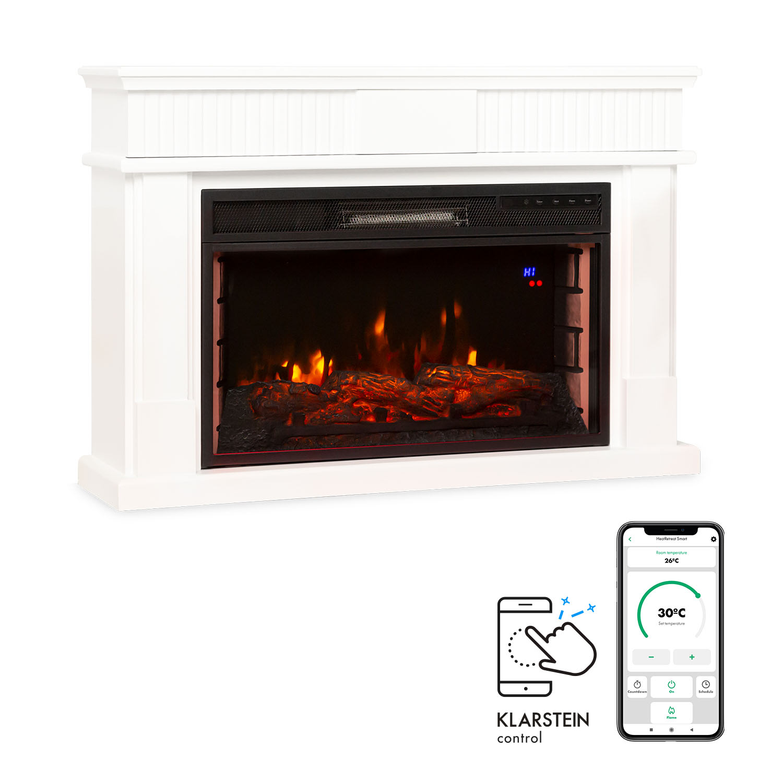 Klarstein Bern Smart, Electric Fireplace, 1000 / 2000W, LED, 18-27 ° C, Weekly Timer, White