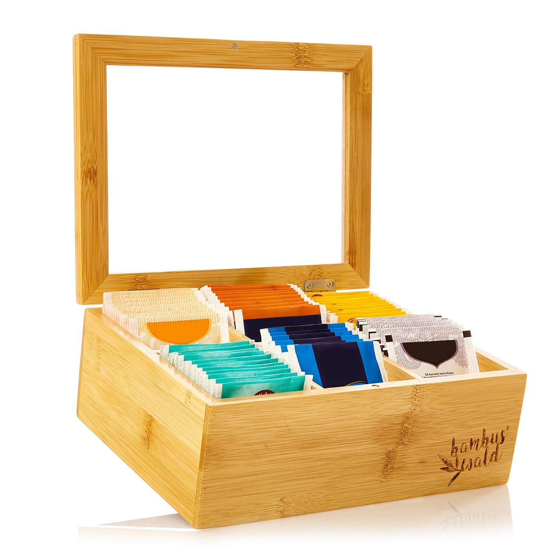 Caja para té 6 compartimentos 90 bolsitas de té Ventanilla de plástico Bambú