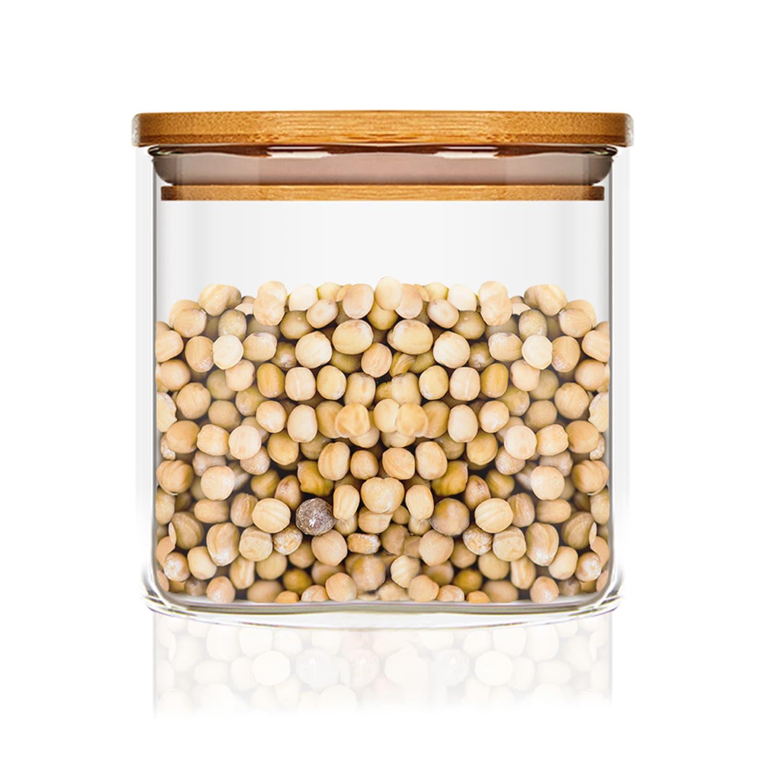 Квадратен буркан за съхранение на храна с бамбуков капак, херметичен, със силиконово уплътнение, 10 × 10 × 10 см, 700 мл