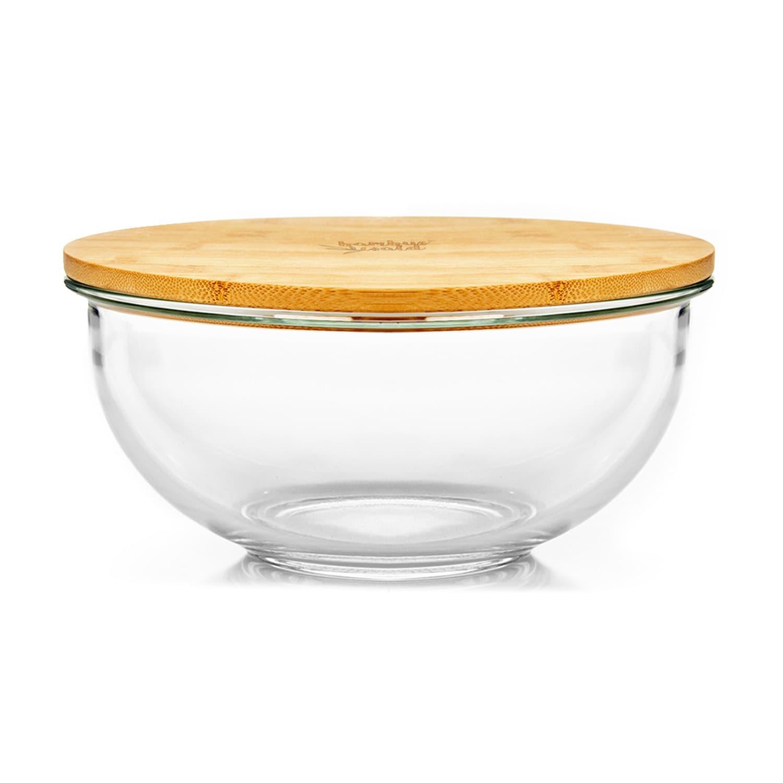 Cuenco de cristal 1365 ml Tapa de bambú Apilable Sin BPA Tamaño M