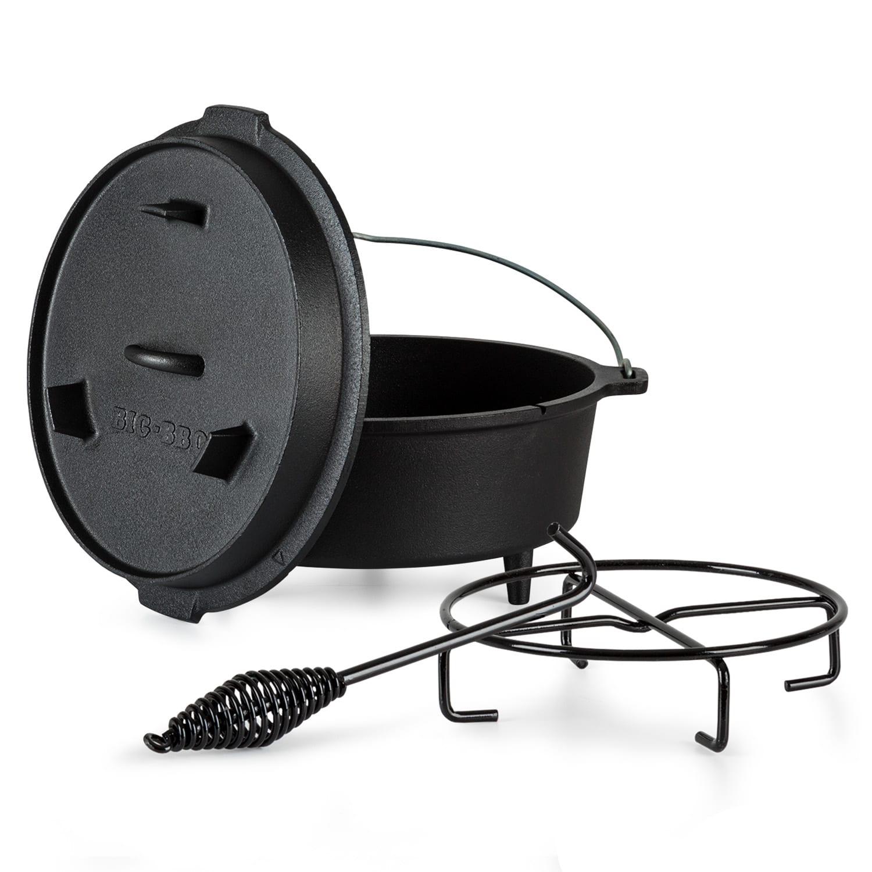 Olla Guernsey Premium Dutch Oven 6.0 BBQ hierro fundido pies de apoyo tamaño M / 6 qt