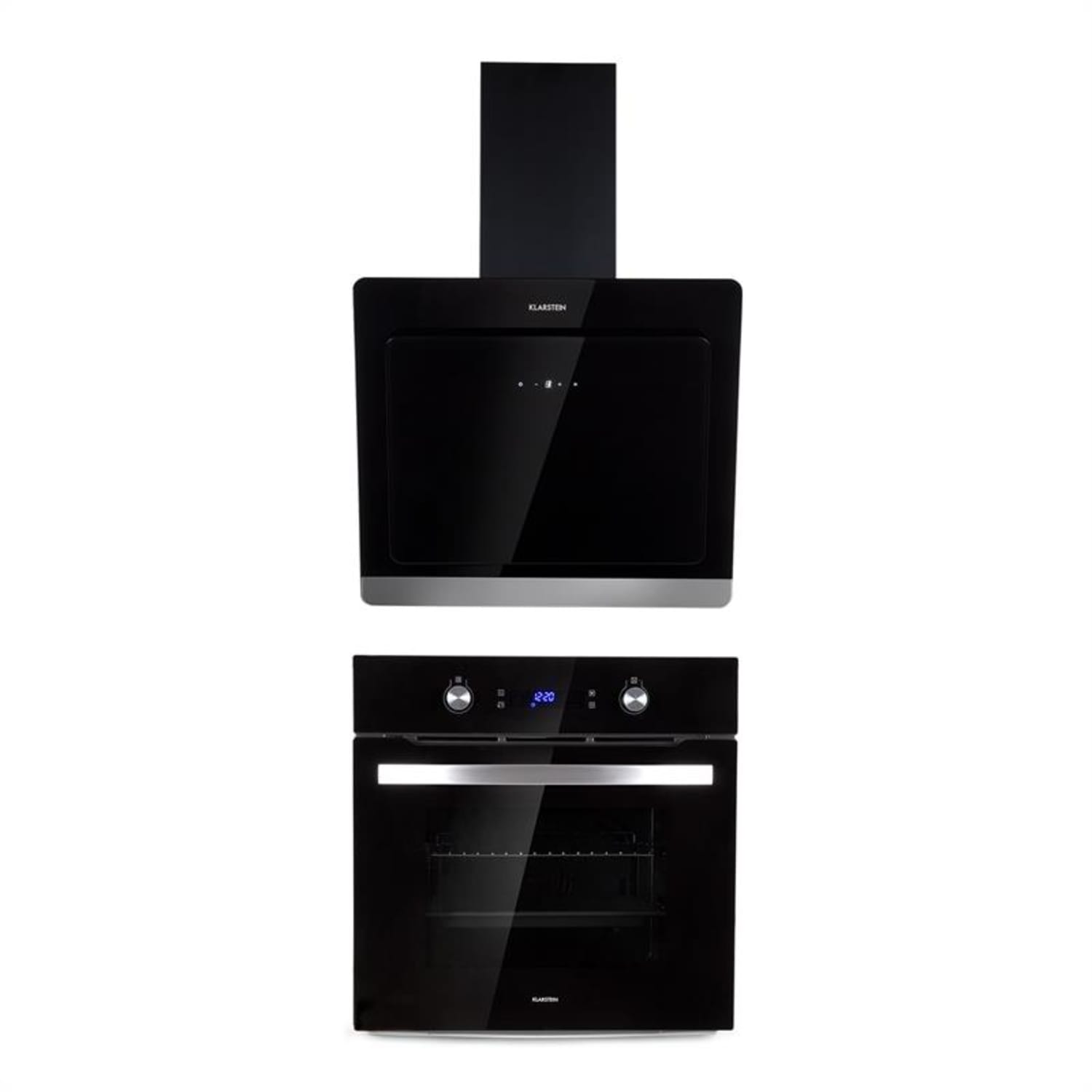 Gusteau Aurora Built-In Set Oven + Wall-Mounted Hood Black Stainless Steel