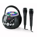 auna SingSing Lecteur karaoké CD CD+G portable effets LED+ 2 micros -noir