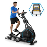 Helix Star DR Orbital Cross Trainer Heimtrainer | volle Kinomap-App-Unterstützung | Bluetooth | Schwungmasse: 27 kg | 32-stufiger Magnetwiderstand | SilentBelt System: laufruhiger Riemenantrieb | Pulsmesser | Trainingscomputer | schwarz