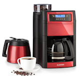 Aromatica II Duo Kaffeemaschine | integriertes Mahlwerk | 2-10 Tassen | 5 Mahlgrade | 1,25 l Glaskanne | einstellbare Kaffeestärke | Permanent-Filter mit Goldbeschichtung | LCD-Display | Timer | Aktivkohle-Filter | inklusive Thermoskanne | rot