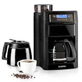 Aromatica II Set Kaffeemaschine | integriertes Mahlwerk | 150 g Bohnenbehälter | 2-10 Tassen | 5 Mahlgrade | 1,25 l Glaskanne | einstellbare Kaffeestärke |  Permanent-Filter | LCD-Display | Timer | Aktivkohle-Filter | inkl. Thermoskanne | schwarz