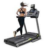 Infinity Pro 4.0 Laufband | 7 PS Motorleistung | Geschwindigkeit: bis 21 km/h | 15 % Steigung | 6P-AntiShock Suspension | Kinomap-App & Tablethalterung | integrierte Lautsprecher & AUX-IN | 36 Programme | LCD-Display | Pulssensor | Bodenrollen | grau