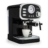 Espressionata Gusto Espressomaschine | 1100 Watt | 15 Bar Druck | Volumen Wassertank: 1 Liter | abnehmbares Tropfgitter aus Edelstahl | spümaschinenfeste Tropfschale | Easy Brewing Technology | bewegliche Aufschäum- und Heißwasserdüse | schwarz