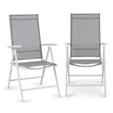 Blumfeldt Almeria Set 2 chaises pliantes de jardin ComfortMesh blanc & gris