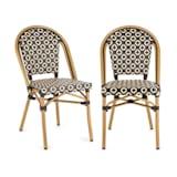 Blumfeldt Montbazin BL Chair Stackable Aluminium Frame Polyrattan Black-Cream