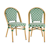 Blumfeldt Montbazin GR Chair Stackable Aluminium Frame Polyrattan Green