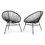Blumfeldt Las Brisas Chairs Set of 2 Retro Design 4mm Mesh Black