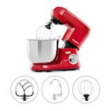 Klarstein Bella Robusta metaal keukenmachine 1.200 W 6 standen 5,5 liter rood