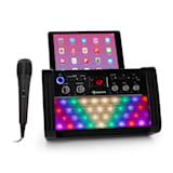DiscoFever 2.0 Karaokeanlage | Bluetooth | multicolor Disco-LED  | CD-/CD+G-Player | 2 Mikrofon-Eingänge | Verbindung zu TV- und Stereo-Systemen | Tablet- und Smartphone-Halterung | handliche Kontrollknöpfe | inkl. Handmikrofon | schwarz