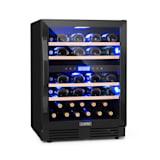 Vinovilla Onyx 43 Weinkühlschrank | 129 Liter | 43 Weinflaschen | Glastür | 3-farbige Innenbeleuchtung | 4 Holzeinschübe | 2 Kühlzonen | Anti-Vibration | Touch-Bedienfeld | freistehend oder als Einbau / Unterbau-Gerät | Klasse B | schwarz