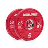 Nipton 2021 Bumper Plate Gewichtsplatte | 2 x 2,5 kg |  Stahlinnenring | 50,4 mm Aufnahmeöffnung | Hartgummi