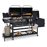Kingsville Smoke combi-barbecue gas houtskool Smoker 13,5kW 3+1 brander
