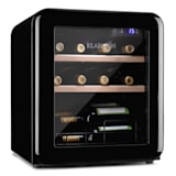 Vinetage 12 Uno Weinkühlschrank| 46 Liter / 12 Flaschen | Temperatur: 4-22 °C | Kompressor | 2 Holzregalebenen | LED-Beleuchtung | UV-Schutz | Weinkühler | Klein | Freistehend