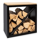 Kindlewood S Black Holzspeicher Holzlager  Brennholz-Aufbewahrung | nutzbar als Sitzbank | Maße: 57 x 56 x 36 cm (BxHxT) |  Sitzplatte aus Bambus | 1 x Trennwand | Material: Stahl & Bambus