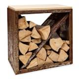 Firebowl Kindlewood S, Rust Wood Storage, Bench, 57x56x36cm, Bamboo, Zinc