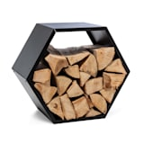 Firebowl Hexawood Black, Wooden Storage, Hexagon Shape, 50.2 x 58 x 32 cm