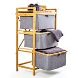 Wäscheregal    Wäschesammler   Korbregal   Badezimmer-Möbel   3 Etagen    einfacher Aufbau   aus Bambus und Baumwollleinen   3 Schubfächer mit je 2 Henkeln