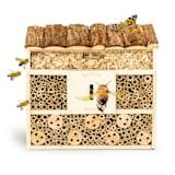 Hôtel à insectes avec toit plat, suspension habitable toute l'année bois