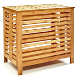 Linen chest lid ventilation slots bamboo stainless steel