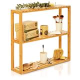 Shelf storage 3 tiers 60x54x15 cm (WxHxD) height-adjustable shelves bamboo