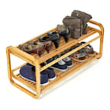 Shoe rack multipurpose 2 shelves 6 pairs of shoes expandable sustainable bamboo
