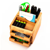 Desk organizer with 2 pull-out compartments 15 x 9,5 x 12,5 cm 100 % bamboo