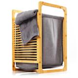 Koš na prádlo, bambus, pevná bavlna, jednoduchá montáž
